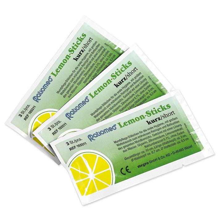 Lemon-Sticks, 10 cm lang, Wattestäbchen,Kopf: 3 cm, 25x3 St.